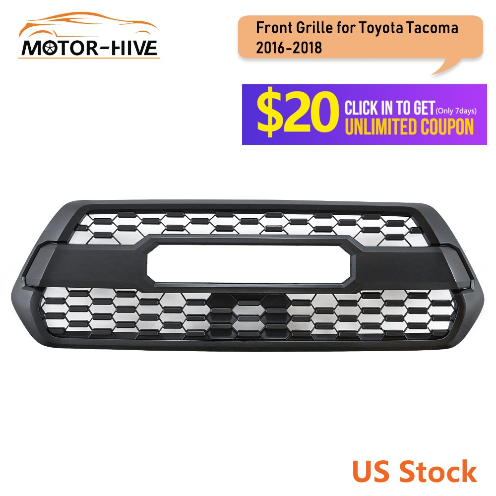 Front Bumper Hood Black Grille for Toyota Tacoma TRD PRO 2016 2017 2018 Mesh Racing Grill Plastic Car Accessories