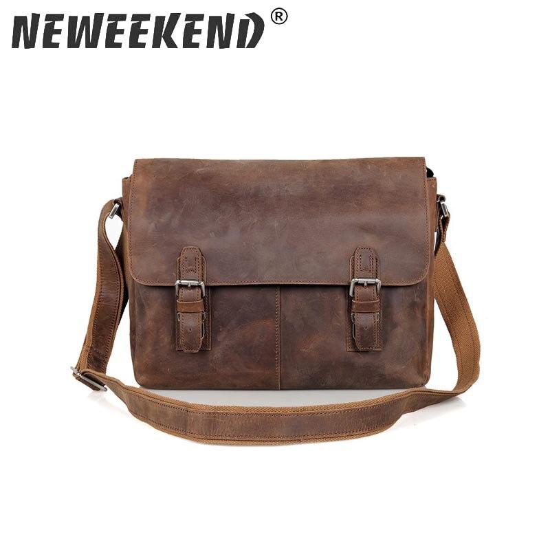 Vintage Crazy Horse Leather Men Shoulder Bag Crossbody Bag Men s Messenger Bag Genuine Leather Bag