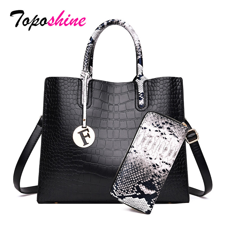 Toposhine Women Bags Shoulder-Bags Alligator Crocodile Black Fashion Casual for Handbag