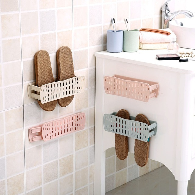XUNZHE Plastic Wall Mounted Shoe Rack Folding Shoes Storage Rack Bathroom  Slippers Storage Rack Space