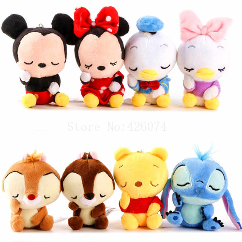 New Sleeping Mickey Minnie Donald Duck Daisy Stitch Chip and Dale Plush Keychains Kids Stuffed Animals Toys For Children 12CM