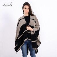 LESIDAแคชเมียร์ผ้าพันคอผู้หญิงขนาดใหญ่ผ้าคลุมไหล่ลายพิมพ์ผ้าพันคอเสื้อคลุมที่อบอุ่นPonchosและเ...