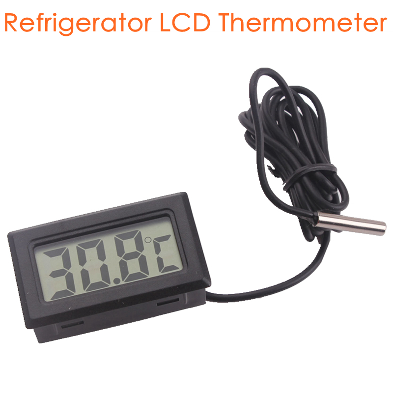 Home Mini LCD Digital Display Refrigerator Electronic Temperature Meter Gauge Thermometer Temp Sensor with Probe without Battery sepp motorcycle water temperature meter digital thermometer temp gauge with color screen auto sensor for all cars