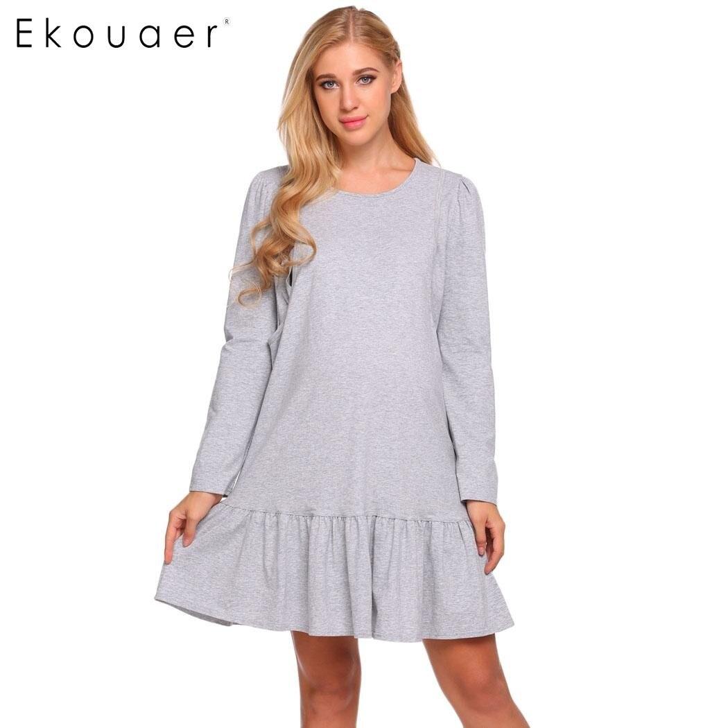 Ekouaer 2018 New Arrival Women Maternity Nightgown Nursing Dress Long Sleeve Ruffled Lounge Night Dress Sleepwear Nightwear