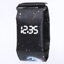 Creative Trend Newspaper White LED Digital Watch Mens Women Waterproof Strap Paper Sport  watch