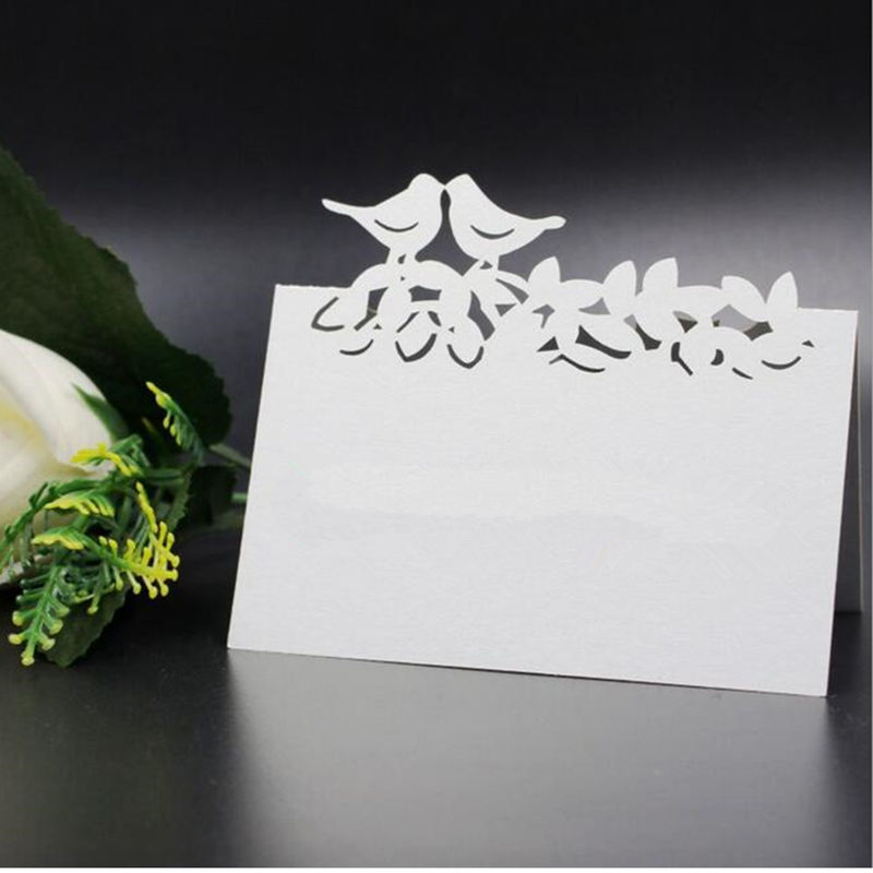 100pcs/lot Cut-out skeleton Double Birds Wedding Birthday Party Table Name Wine Food Guest Seats Place Cards Favor Decoration