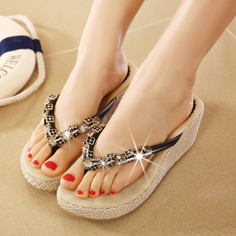 12eb0740b7f Bohemia Metal Rhinestone Wedge Clip Toe Slippers Women Summer Sandals Thong  Platform Flip Flops Elegant Beaded Women Slippers-in Slippers from Shoes on  ...