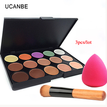 3 Pçs/lote Brand New 15 Cores Camouflage Concealer Palette Make Up Creme Cartilha Paleta de Contorno Maquiagem Bronzer Com Sopro & escova(China (Mainland))
