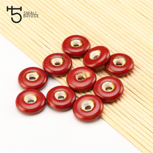 21mm Flower Glaze Flat Round Ceramic Beads For Jewelry Making Sweater Necklace DIY Material Loose Big Hole Charms Pendants Bead
