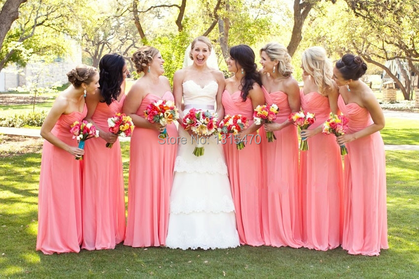 Coral Colored Bridesmaid Dresses Long Chiffon Party Gown Off the ...