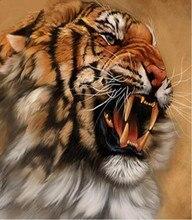 5D DIY Diamond Painting Tiger Crystal Cross Stitch Ferocious Roar Needlework Home Decorative M16973