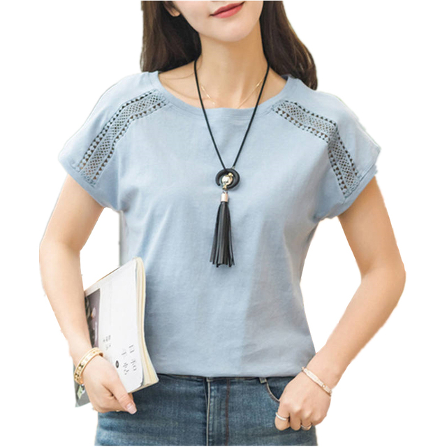 Plus Size Cotton Blouses 2018 Summer Lace Blusas Female Batwing