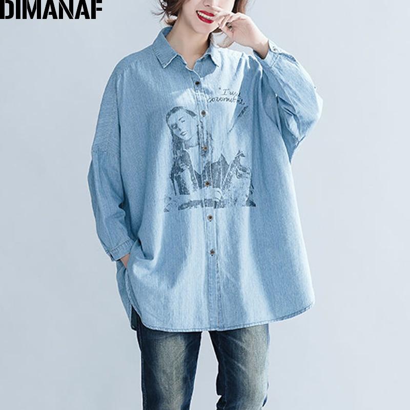 DIMANAF Women Top Shirts Autumn Female Clothing Vintage Denim Blue Long Sleeve Loose Cotton Print Plus Size Cardigan Winter 2018 3