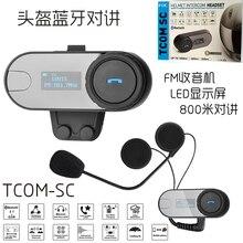 1000m LCD Screen Motorcycle Helmet Bluetooth Intercom FM Radio Motor Talkie Headset TOM SC