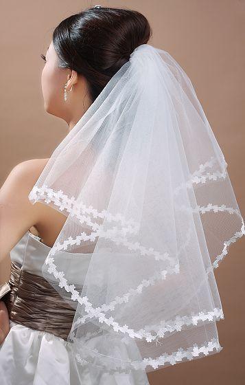 On Sale~All Match Flower Edge Bridal Veil 65