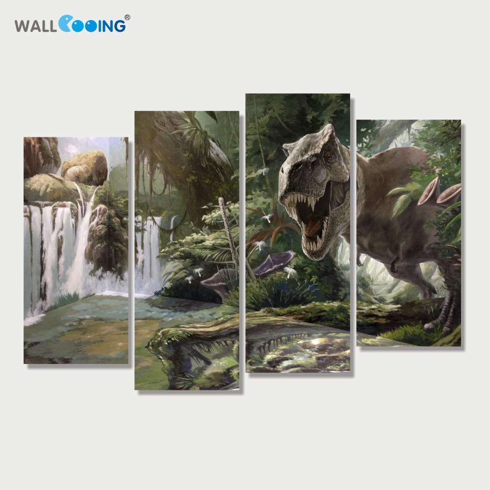 4 Panels Canvas Art Painting Modular Pictures Setting Spray Jurassic Park Dinosaur Image Modern Home Decoration Wall