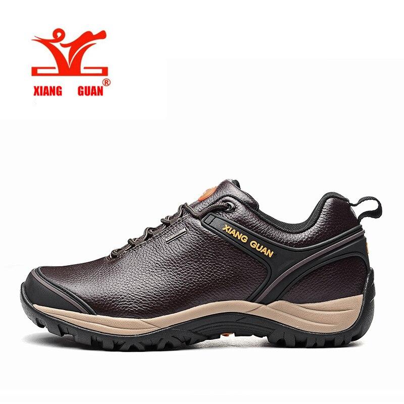 ФОТО XIANGGUAN Genuine leather Hiking Shoes Waterproof Men Trekking Mountain Shoes Hunting Outdoor Climbing Sneaker Brown Male