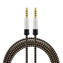 1.5 metro de alta-grade de metal trançado cabo de áudio de 3.5mm AUX cabo de áudio