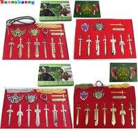 14PCS Set The Legend Of Zelda Weapons Sets Alloy Link Skyward Sword Keychains Shield Necklace Toys