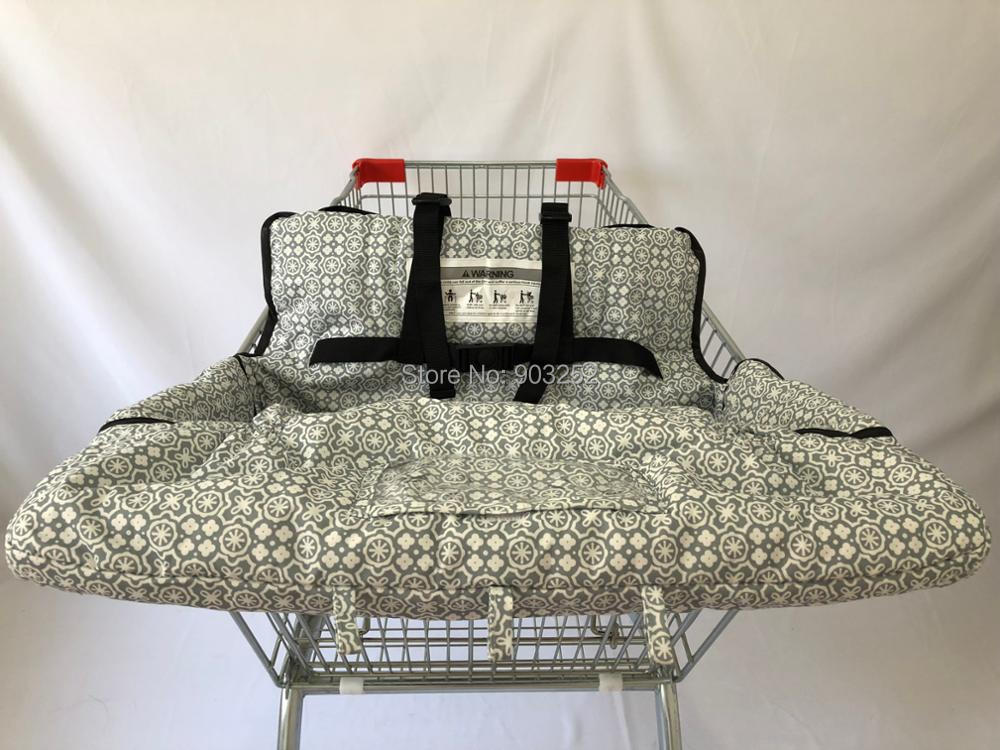 Водонепроницаемое покрывало для магазиннной тележки и стульев 2 в 1 с ремнем безопасности для малышей и малышей(унисекс серый