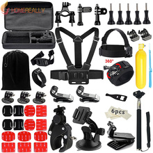 цена на 48-in-1 Action Camera Accessories Kit for Gopro Hero 5 4 3 SJCAM SJ4000 Bundles with Chest Harness Mount/Suction Cup Mount