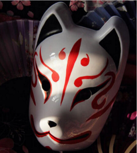 Full Face Hand Painted Japan Fox Mask Kitsune Cosplay Masquerade New-in Boys Costume Accessories from Novelty & Special Use
