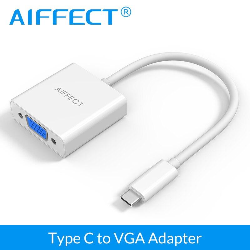 AIFFECT USB 3.1 Type C USB-C à VGA Adaptateur Convertisseur pour Apple Macbook 12 pouces et Google Chromebook Pixel Microsoft Lumia 950