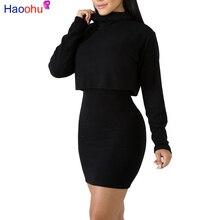29431b65fd8 HAOOHU пикантные 2 комплект из двух предметов платье женская одежда  водолазка с длинными рукавами топ +