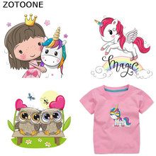 ZOTOONE Cute Small Animal Owl Unicorn Patch Ironing Clothing Sticker Heat Transfer Clothes DIY Children T-shirt Vinyl Washable G