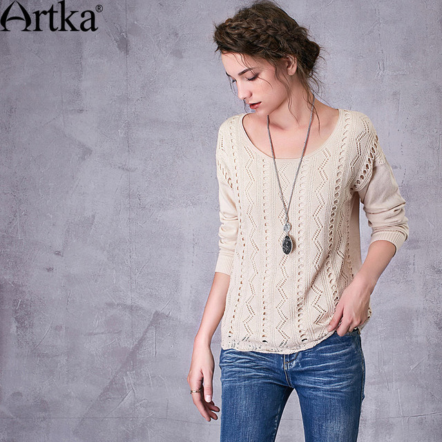 Artka Women's 2017 Spring New 4 Colors Comfy Sweater Casual O-Neck Long Sleeve Pullover Knitwear YB10375C