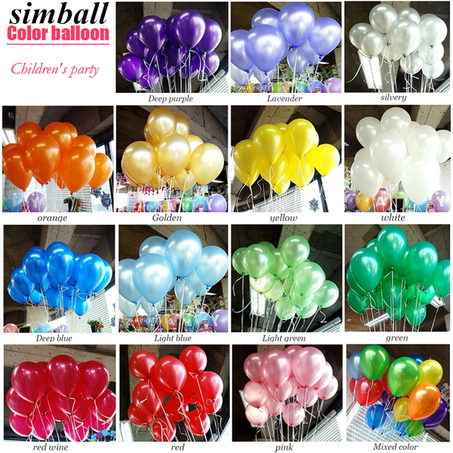 100pcs/lot Birthday Balloons 10inch Latex Helium Balloon Thick 1.5g Pearl Wedding Decoration Party Inflatable Air Ballon Kid Toy