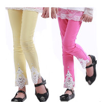 3T To 10T Kids Girls Elastic Lace Beading Woven Pencil Pants Children Sweet Candy Color Casual