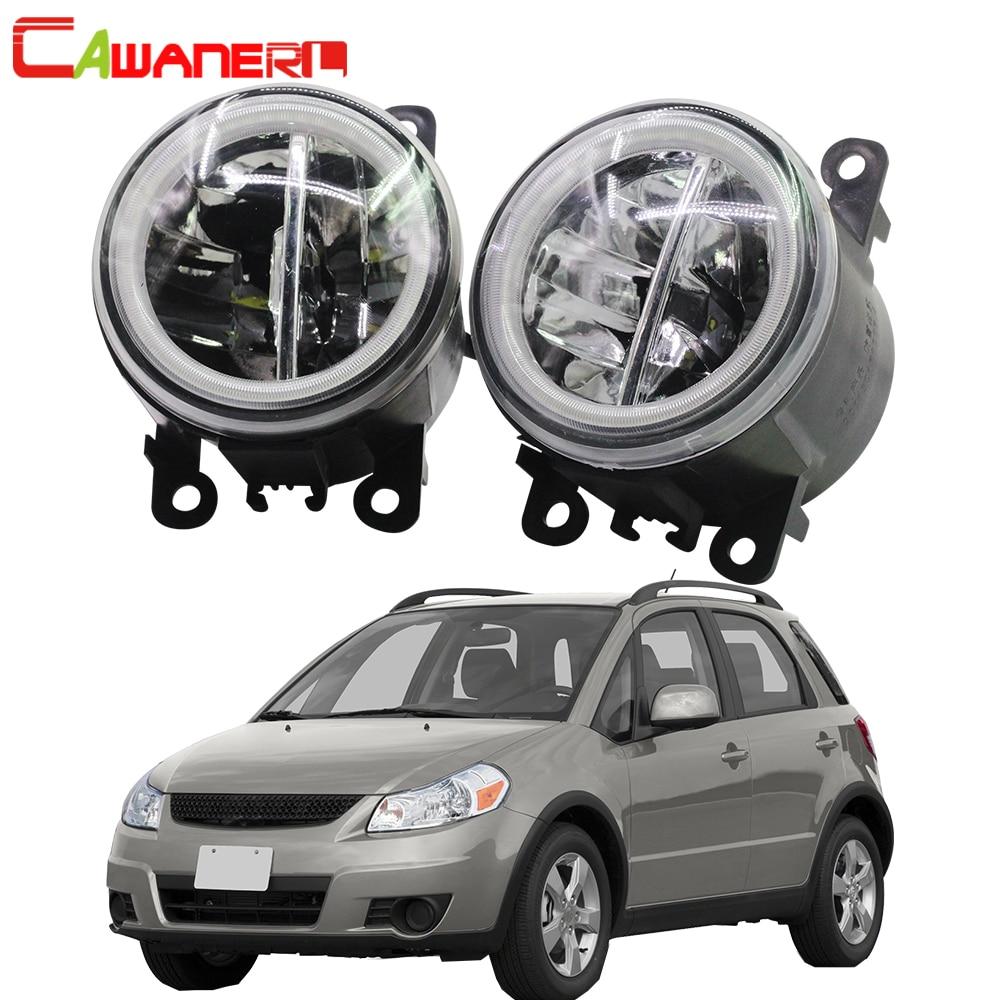 Cawanerl For Suzuki SX4 (EY, GY) 2006 2014 Car Styling 4000LM LED Bulb H11 Fog Light + Angel Eye DRL 12V High Bright 2 Pieces