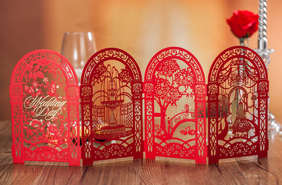 red wedding invitations cards chinese wedding invitations bridal shower invitation laser cut invitation - Chinese Wedding Invitations