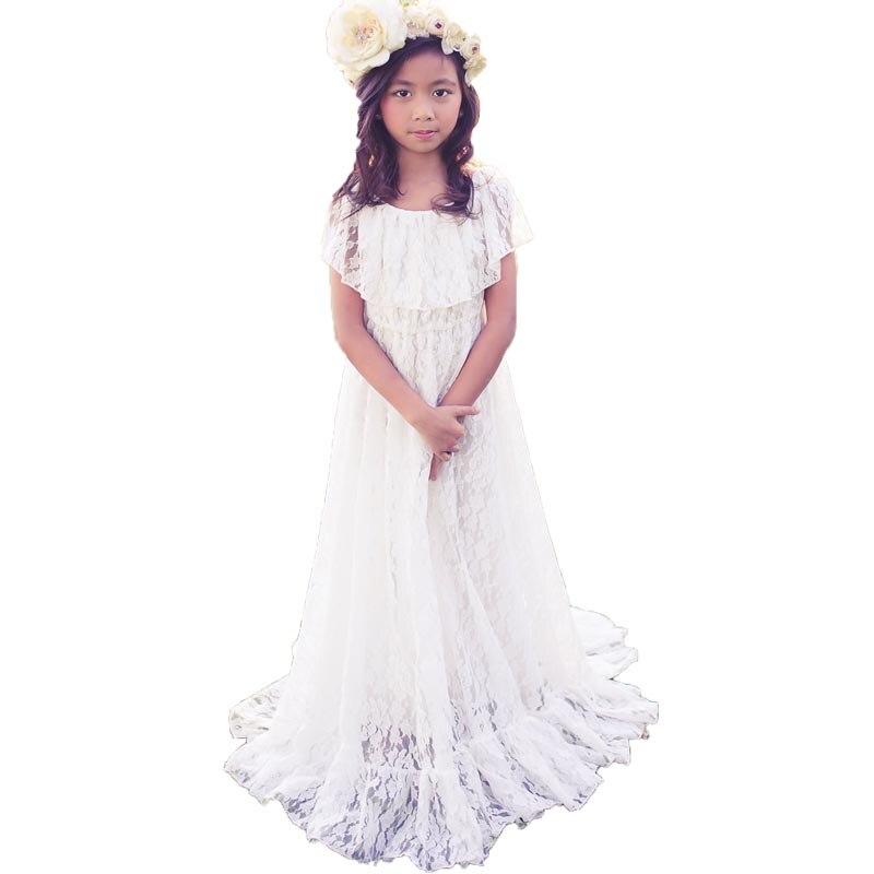 Boho   Flower     Girl     Dresses   Floor Length Summer Beach Maxi Lace   Dress   for   Girls   Vestido Primera White First Holy Communion   Dresses