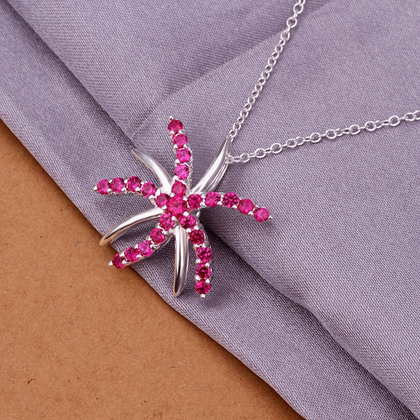 Factory price top quality Silver Plated & Stamped 925 starfish pendant with red stone necklace women jewerly wholesale promotion