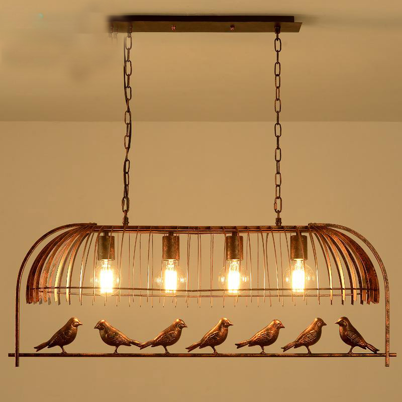 loft vintage retro industrial Iron Bird Cage Chandelier Cafe pub bar hanging light 110-240V