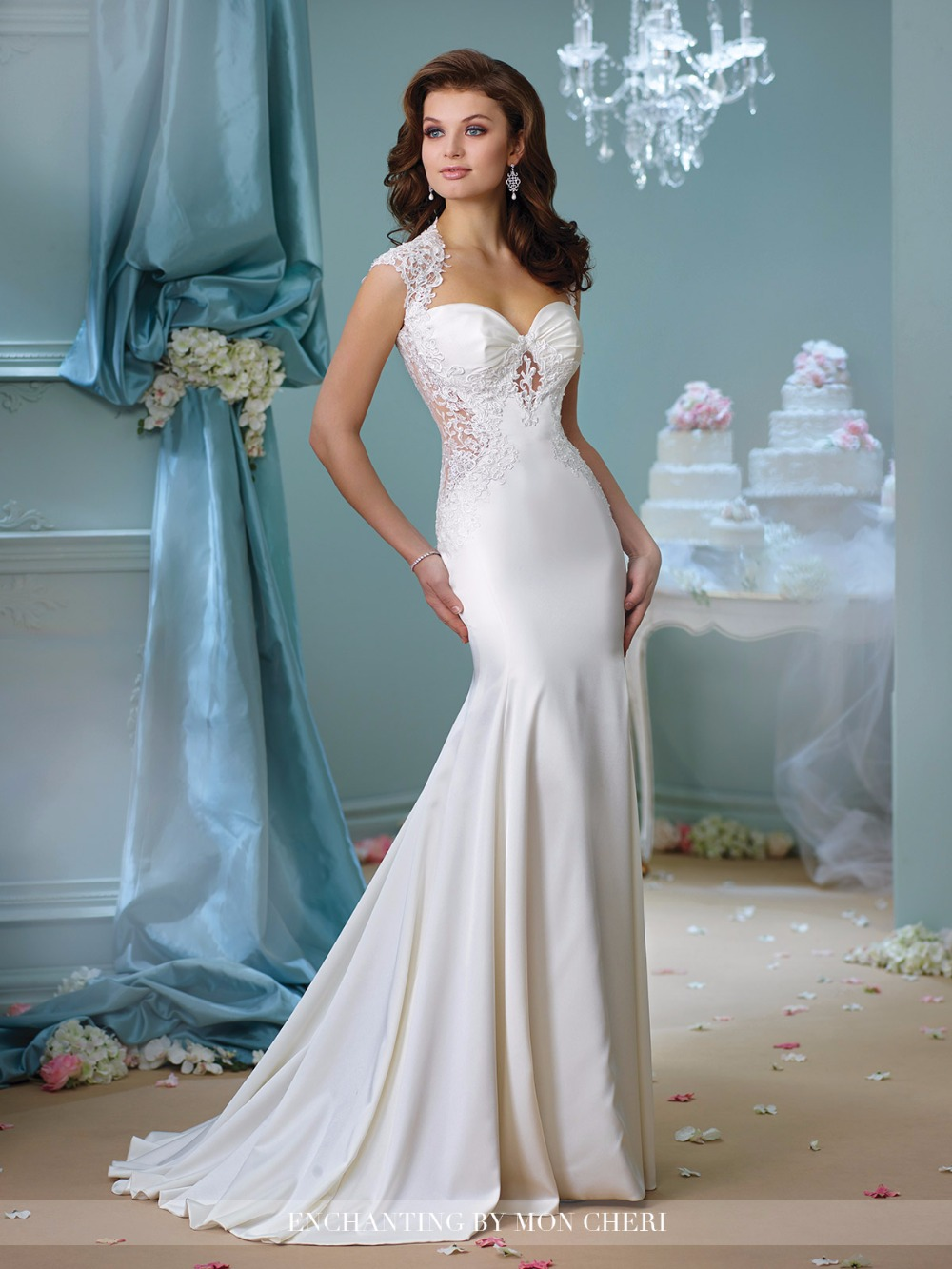 2016 Sheath Mermaid Wedding Dresses Queen Anne Neckline Illusion ...