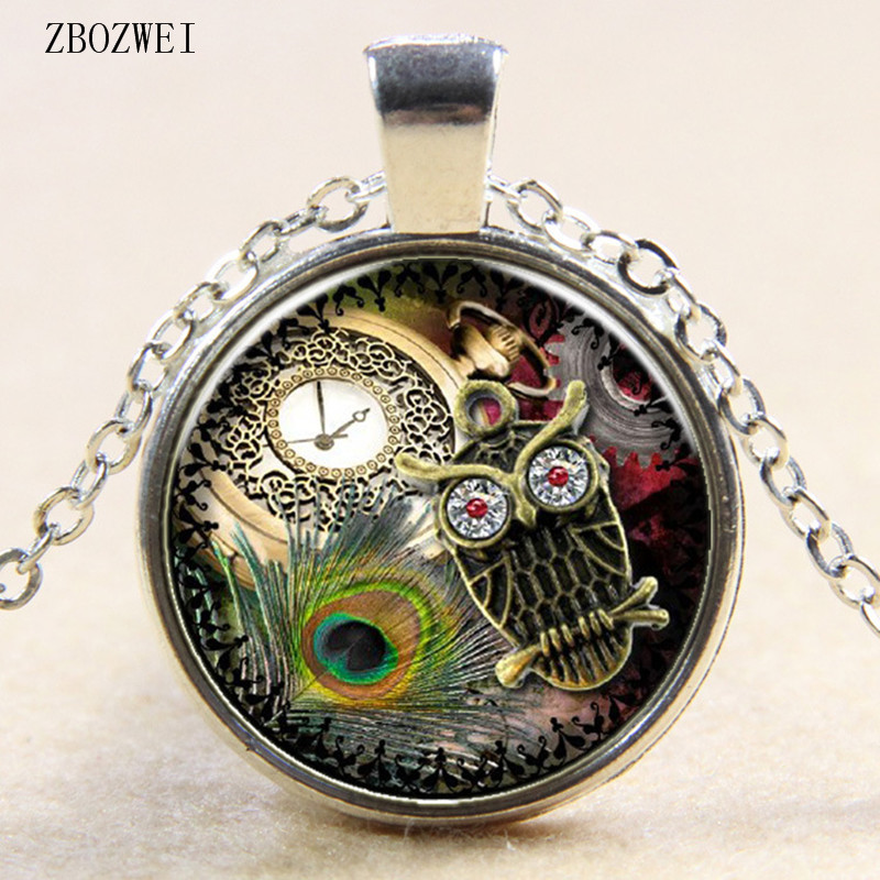 2018/Personality Watch Owl Pattern Glass Pendant Necklace For Men And Women Clothing Accessories Necklace Jewelry