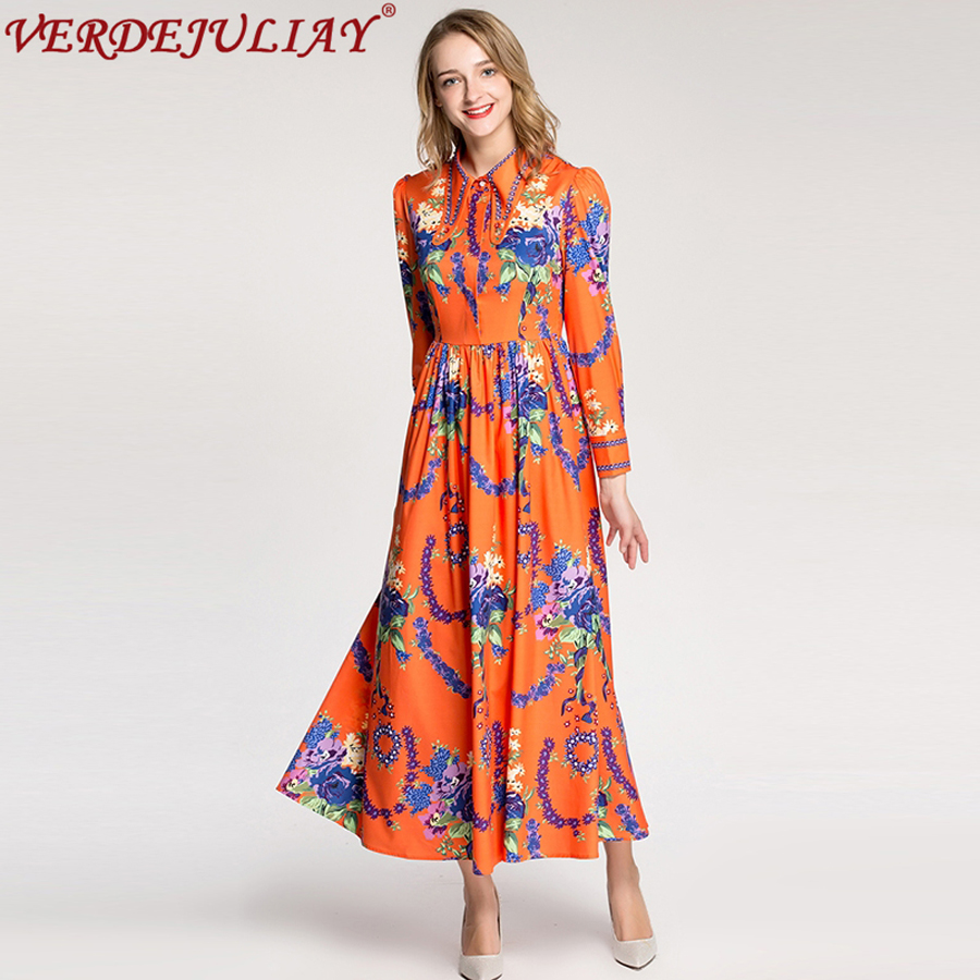 b4a55cf2f31 Женское богемное стильное платье 2019 Мода Ранняя весна лето цветочный  принт Империя длинное популярное подиумное ТРАПЕЦИЕВИДНОЕ