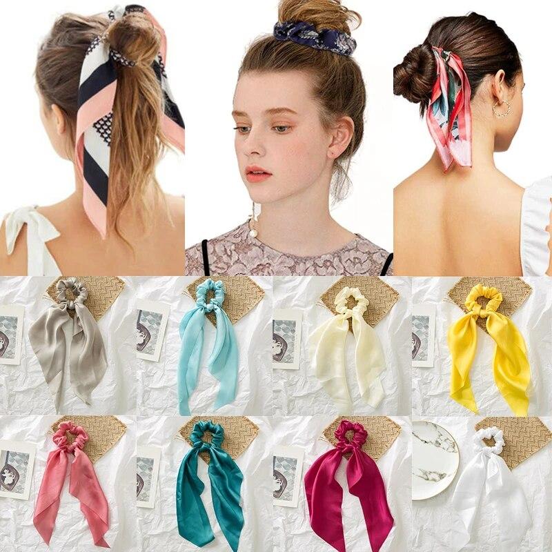 Hot Ties Bow Solid Scrunchie Hair Band Ribbon Satin Headband Scarf Rope Elastic