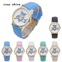 snowshine #10xin   Retro OWL Dial Women Leather Analog Quartz Wrist Watch Watches  free shipping