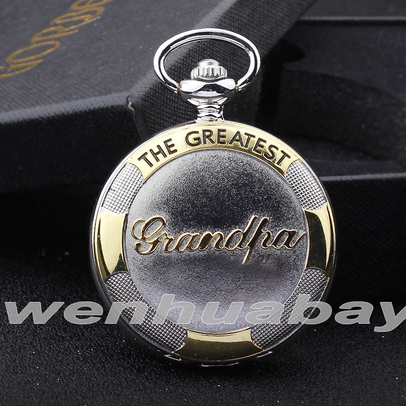 Vintage Silver Golden Grandpa Pocket Watch THE GREATEST Grandpa Gift Box Set Waist Chain Fob Quartz Men Watch Relogio De Bolso my grandpa
