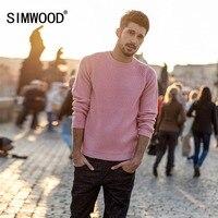 Мужской вязаный шерстяной свитер SIMWOOD, розовый однотонный свитер из шерсти, стильный кашемировый вязаный пуловер высокого качества на осен...