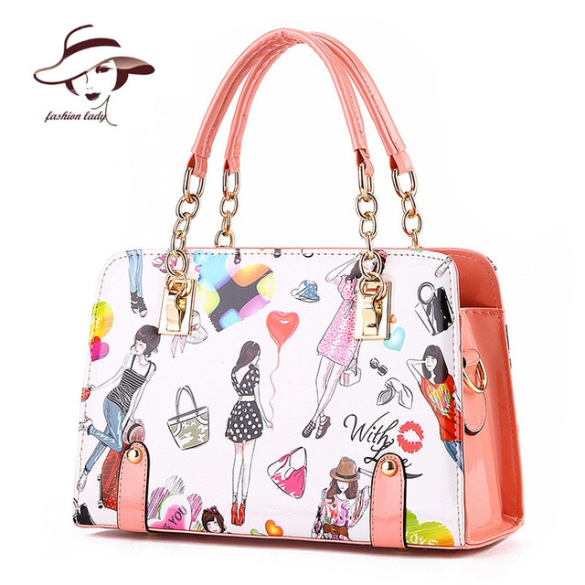 61492c22924a 2018 Women Bag New Fashion Summer Chain Ladies Handbags Cartoon Girl  Printed Female Crossbody Bags Casual