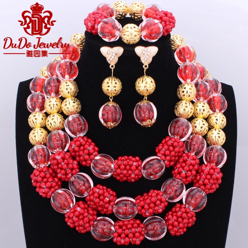 2017 Newest Red Gold African Beads Imitation Pearls Jewelry Set Sale Three Layered Balls Beads Nigerian Costume Wedding Jewelry new fashion boho imitation pearls statement chains pendant dress jewelry pearls beads harness body chain wedding jewelry