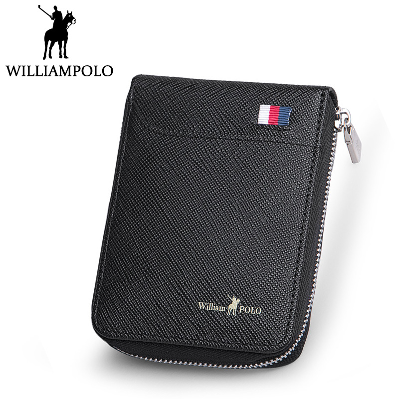 WILLIAMPOLO Credit Card Holder Leather Men Card Wallet Cowhide Mini Small Card Case Black Blue asia blue card 100g