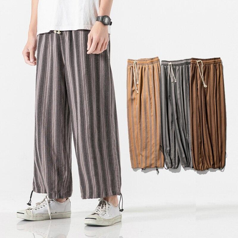 Kimono Pant Harem-Trousers Streetweear Cotton Linen Men Loose Stripe Japan-Style Male