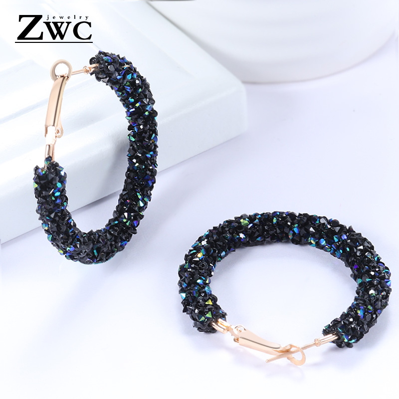 ZWC Vintage Korean Big Earrings for Women Female Fashion 1