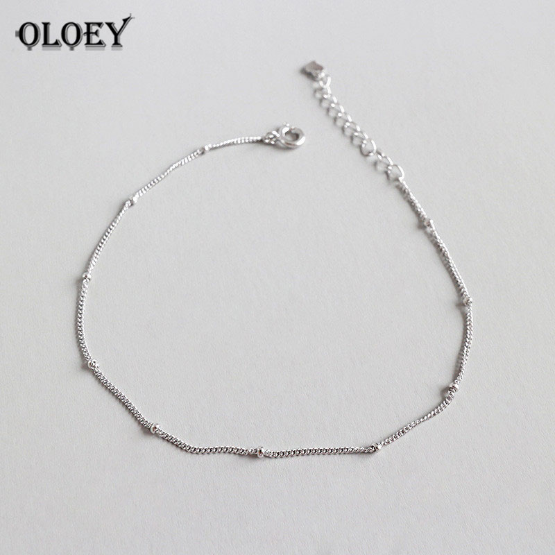 OLOEY Simple Beaded Link Chain Anklet For Women Genuine 925 Sterling Silver Ankle Bracelet Adjustable Length Fine Jewelry YMA017